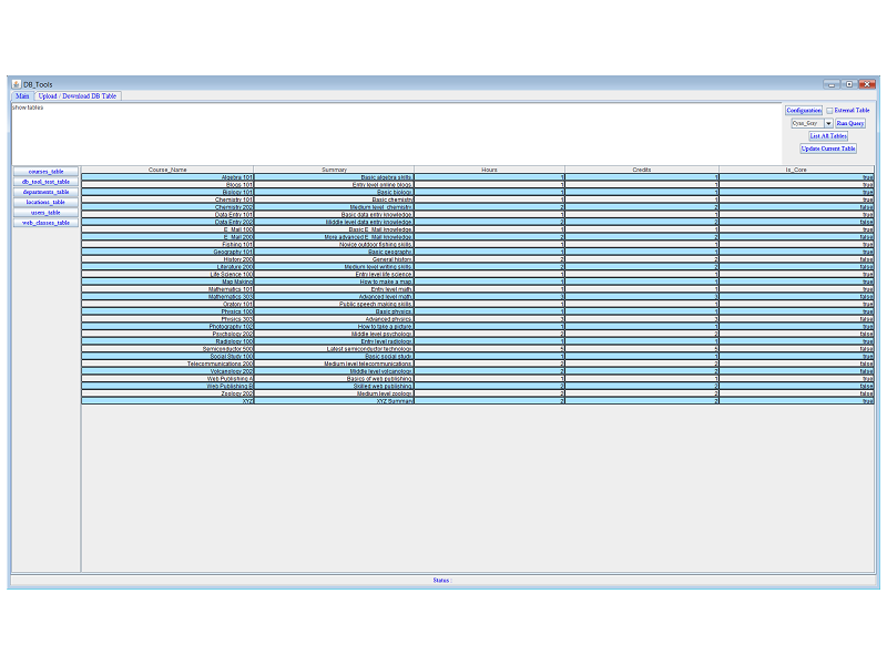 save data to db, you can also upload or download excel tables to and form database